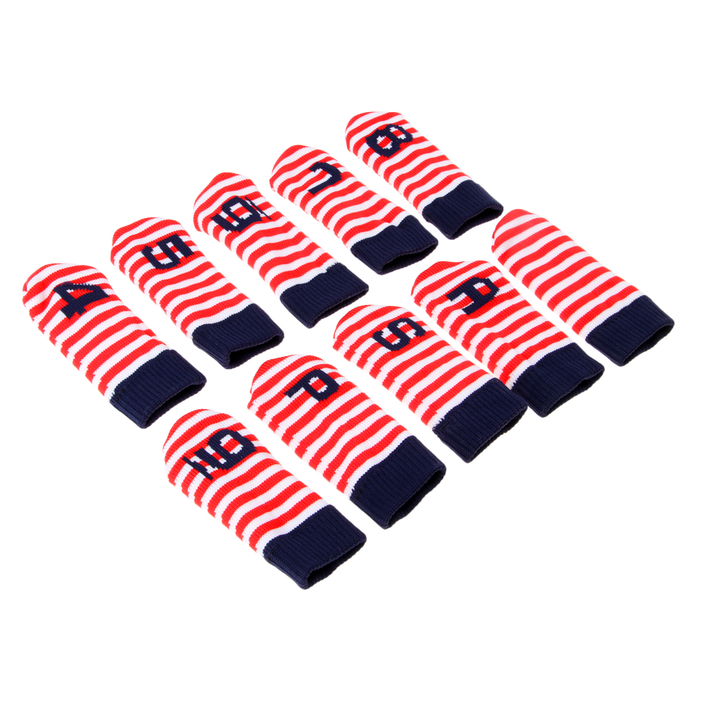 10 Pieces Knitted Golf Iron Head Cover Set Club Putter Headcovers
