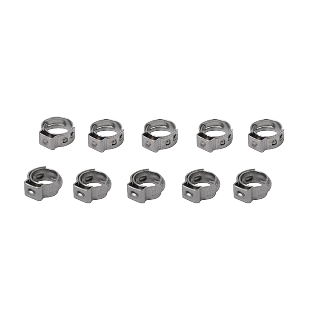 10PCS Stainless Steel Adjustable Single Ear Band Hose Clamps 7.0mm-8.7mm