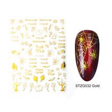 YAYOGE 1 hoja de uñas pegatina Oro Negro Halloween 3D diseño Foils Sliders para decoración de uñas manicura agua calcomanía consejos(China)