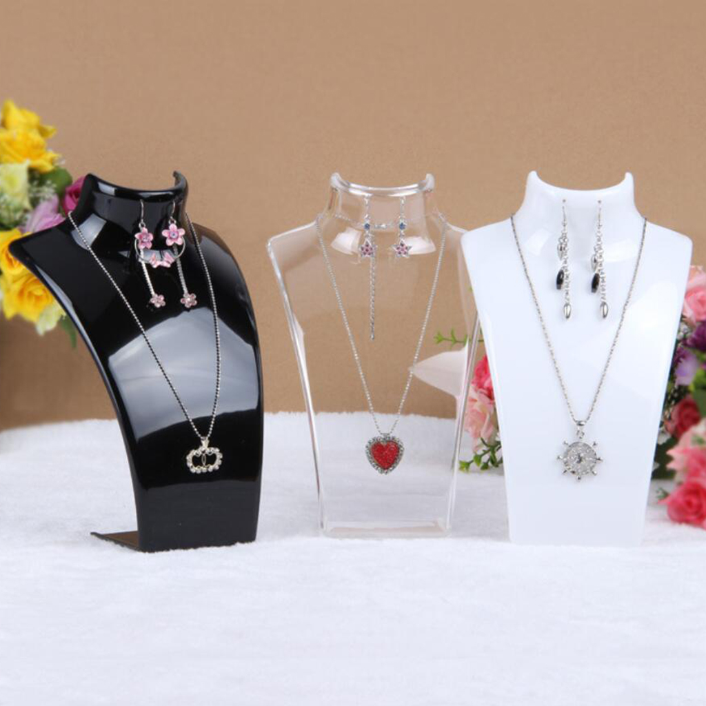 Acrylic Necklace Display Bust Stand Mannequin - Jewelry Holder for Necklaces Chain, Choker, Pendant