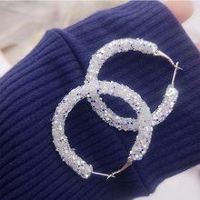 Women Simple New Design Fashion Charm Crystal Hoop Earrings Geometric Round Shiny Rhinestone Big Earring Jewelry(China)