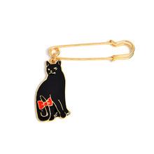 Kucing Lucu Bros Hitam dan Putih Kitty Enamel Pin Merah Busur-Simpul Ekor Kerah Pin Lencana Pakaian Tas Perhiasan hadiah untuk Anak-anak Grosir(China)
