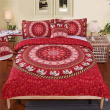 BeddingOutlet Sugar Skull Bedding Set Red Rose Duvet Cover Diamond Gothic Home Textiles Mandala Lotus Flower Bedclothes 3-Piece(China)