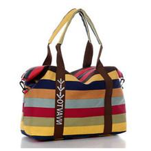 Famosa marca feminina lona sacos de ombro moda sacos do mensageiro ocasional praia saco listrado sacola de compras bolsa bolsos mujer(China)