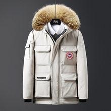Зимняя пуховая парка, пальто, мужская зимняя куртка с меховым капюшоном, толстые теплые парки, белое пуховое пальто, мужские пуховики Abrigo ...(China)
