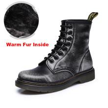 2019 chất lượng Hàng Đầu chia Da Giày Bốt Nữ DR Giày Boots Cao Hàng Đầu Xe Máy Thu Đông Giày người phụ nữ Ủng ST50(China)