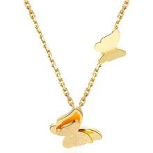 רומנטי פרפר שרשרת + עגיל סטי תכשיטי אופנה עלה זהב-צבע נירוסטה נשים אירוסין אבזרים(China)