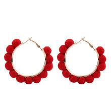 น่ารักขนลูกบอลวงกลมต่างหูเกาหลีสั้นวงกลม Candy สี Hoop ต่างหูผู้หญิง Cool Bubbles ต่างหู Hollow Drop Earrings(China)