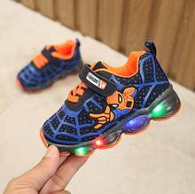 Boys Sneaker Girls Spiderman Kids Led Shoes With Lights Sneaker 2019 Spring Autumn Shoes Children Toddler Baby Girl Shoes(China)