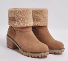 """Mùa Đông Nữ Ủng Cao Gót Vuông Nữ Chaussure Lông Ấm Áp Giày Người Phụ Nữ Zapatos Mujer """"Sapato Giữa Bắp Chân Boot XZ180051(China)"""