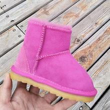 Kış bebek kız çocuk kar botları sıcak koyun derisi deri kürk çocuklar Botas prewalker su geçirmez bebek çizme çocuk ayakkabı olmayan kaymaz(China)