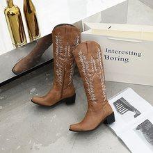 Egonery Fashion Sepatu Bot Setinggi Lutut Musim Gugur Musim Dingin Hitam Merah Coklat Sepatu Wanita 33-45 Ukuran Pesta 5 Cm Mid Tumit Western Boots(China)