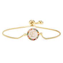 NEWBUY kolorowe cyrkonia 26 alfabet list Charm bransoletka Femme złoty łańcuch Shell bransoletka dla kobiet Party biżuteria(China)