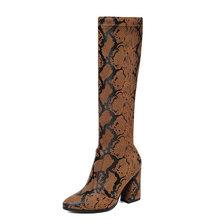 WETKISS Yılan Derisi Pu Çizmeler Kadınlar Streç Platformu Çizme Kadın Yuvarlak Ayak Diz Ayakkabı Bayanlar Seksi Yüksek Topuklu ayakkabı Kış(China)