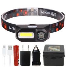 Mini COB phare LED lampe frontale lampe de poche USB Rechargeable 18650 torche nuit en cours d'exécution phares lumière(China)