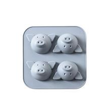 4 Bahkan Lucu Kreatif Babi Silikon Kue Cetakan Baking Pan Food-Grade DIY Kue Beras Kukus Kue peralatan(China)