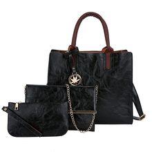 3 個女性のバッグセットファッション Pu レザーレディースハンドバッグ無地メッセンジャーバッグショルダーバッグ財布バッグ女性 2019(China)