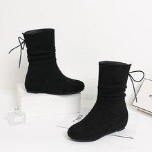 EGONERY 2019 kış yeni sıcak orta buzağı çizmeler dışında orta topuk yuvarlak ayak çapraz bağlı akın kadın ayakkabı damla kargo boyutu 32-43(China)