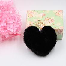 Coração grande Amor 10 centímetros Imitação Rex Pele De Coelho Bola Pompom Keychain Macio Chaveiros para Mochila Saco Cadeia Chave Do Carro llavero Mujer(China)