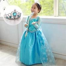 Нарядное платье принцессы Эльзы для девочек; Одежда для маленьких девочек; маскарадный костюм Эльзы на Хэллоуин; рождественские платья с ко...(China)