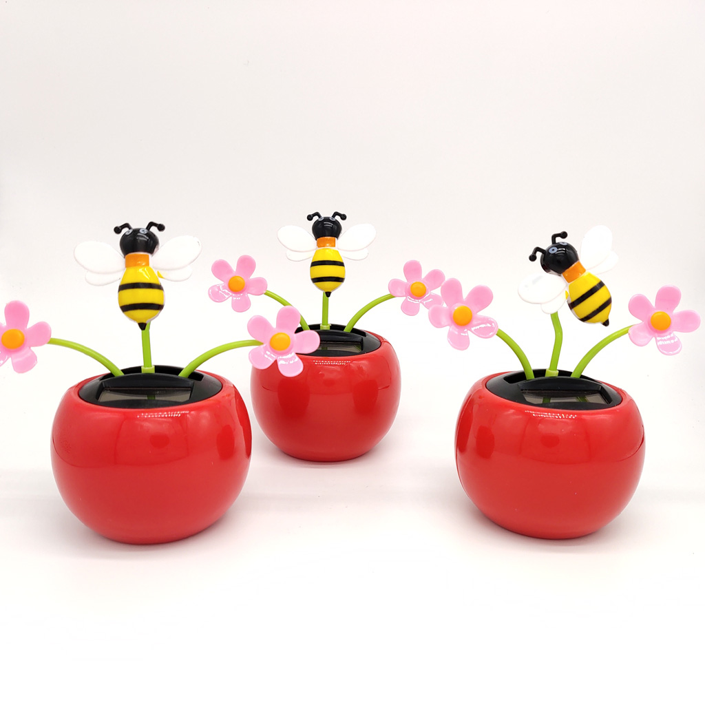 Cute Insects Flower Solar Powered Swing Doll, Shaking Flower Bee Home Car Decor Kids Gift