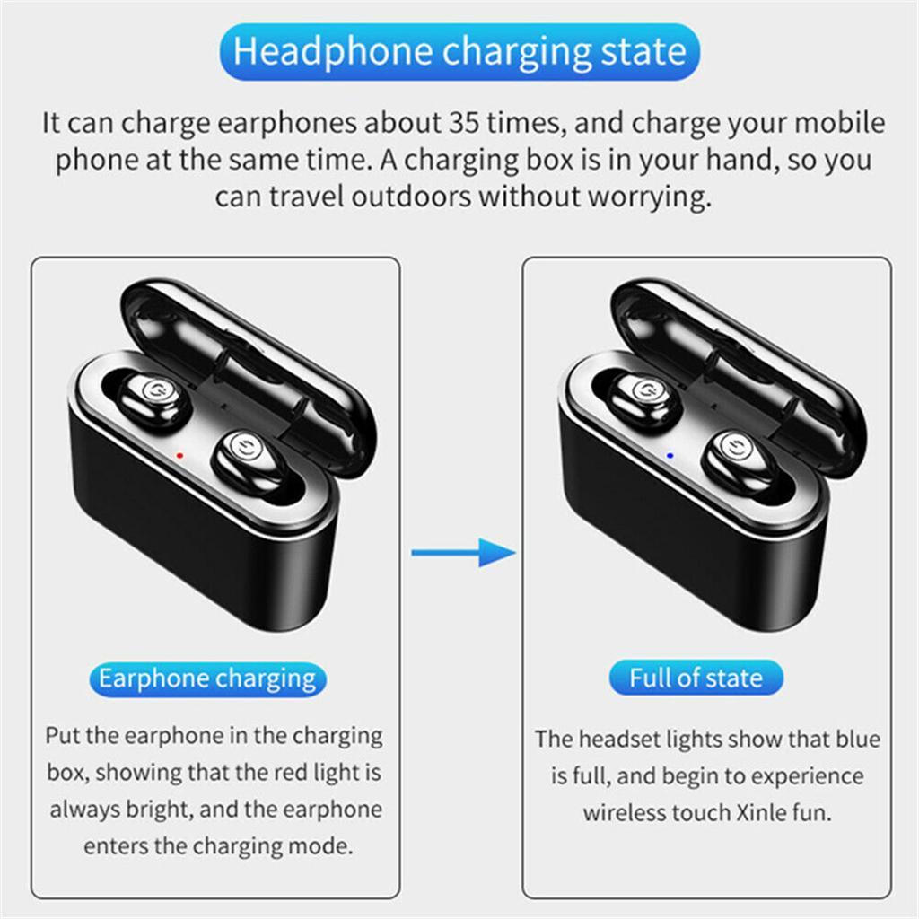TWS Bluetooth True Wireless Earphones Stereo Earbuds Mini TWS Waterproof Headfrees 3000mAh Headset Headphone For Smart phones