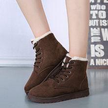 Yeni eklemek kalın pamuklu kadın kar botları düz dantel kadar kış platformu bayanlar sıcak ayakkabı akın kürk kadın süet yarım çizmeler kadın(China)