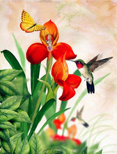 GATYZTORY рамка краска ing по номерам цветы стены искусства DIY Краска по номерам птица холст краски ing Акриловые Наборы для уникального подарка(Китай)