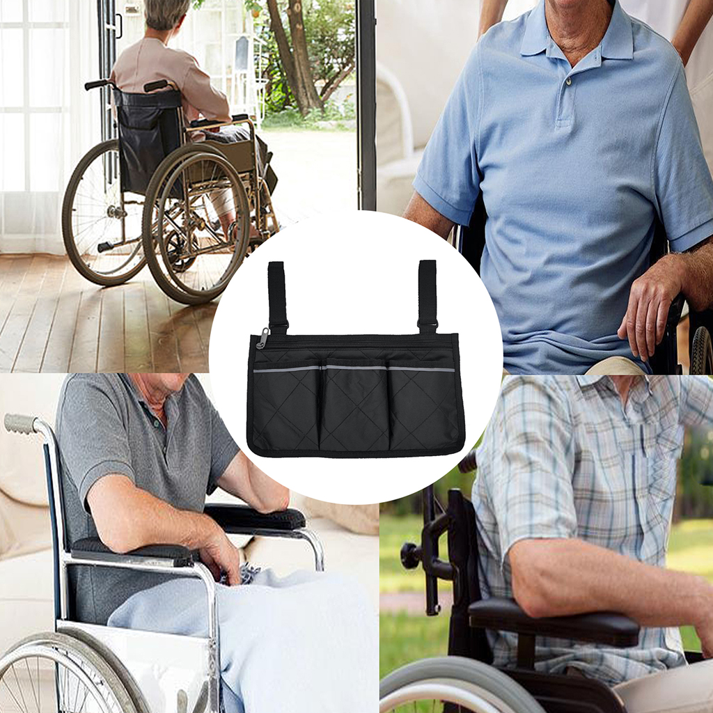 Universal Walker Bag Rollator Organizer Pouch, Wheelchair Scooter Side Bag for Sundries Wallet Snacks Storage