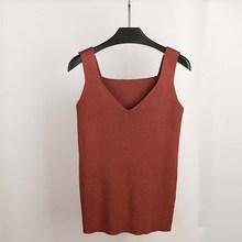 GOPLUS مثير الخامس الرقبة محبوك المحاصيل قميص نسائي حجم كبير تانك توب ملابس داخلية النساء ملابس الشارع الشهير غير رسمية للنساء(China)