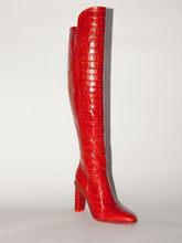 Hakiki deri diz çizmeler üzerinde kadın timsah derisi baskı motosiklet botları tasarımcı kalın topuk kış çizmeler moda fermuar(China)