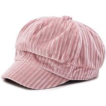 الخريف الشتاء النساء المخملية قبعة القبعات للنساء قبعة شريط موضة الاتجاه القبعات أسود أبيض قبعات الشارع محب قبعة بسيطة(China)