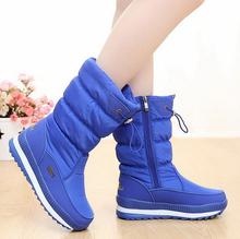 Neue 2019 frauen stiefel plattform winter schuhe dicken plüsch nicht-slip wasserdicht schnee stiefel für frauen botas mujer(China)