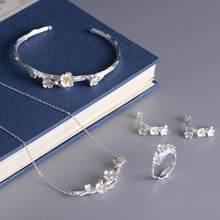 Fashion Sakura Plum Blossom Blume Schmuck Set 925 Sterling Silber Halskette Ohrringe Ring Armband Für Frauen Geschenk(China)