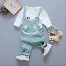 Otoño bebé niña traje tops camisetas + babero traje ropa infantil conjuntos para bebés recién nacidos 1 er cumpleaños tela bebé niñas conjuntos de ropa(China)