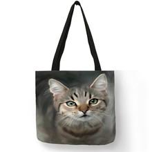 SY0107 Tas Wanita Designer Tote Tas untuk Wanita 2019 Kreatif Kucing Minyak Lukisan Cetak Tas Belanja Besar Kapasitas(China)