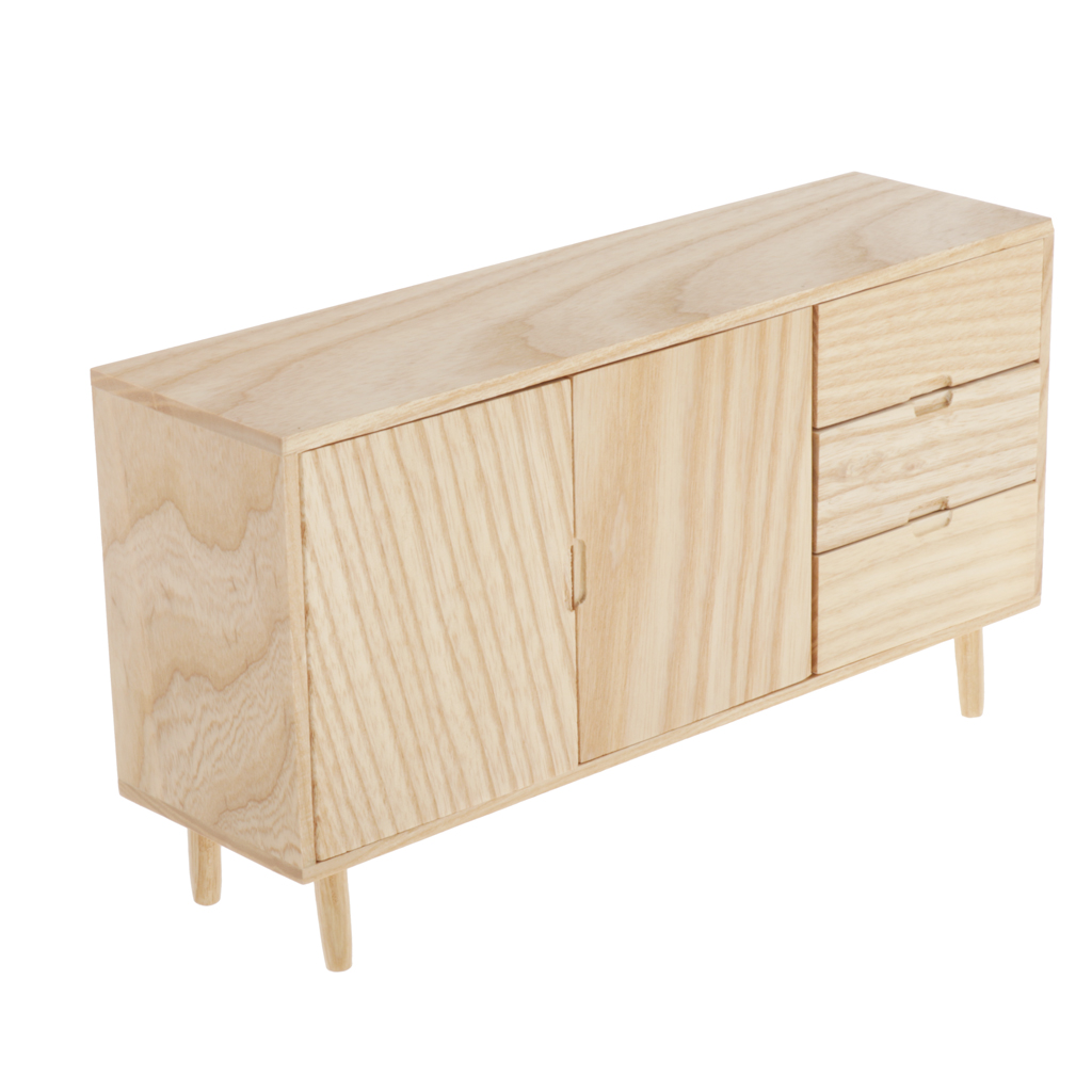Mini Wooden Cabinet DIY Life Play Scene Model for 1:6 Dollhouse Accessories and Living Room Furniture