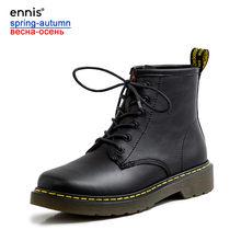 ENNIS klasik Martin çizmeler hakiki deri düz çizmeler platformu siyah yarım çizmeler kadınlar kış sonbahar bağcıklı ayakkabı moda A9374(China)