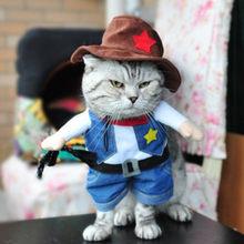 Animal de estimação gato cowboy cavaleiro cão traje cães roupas cosplay produto estilo cavaleiro com chapéu engraçado gato trajes vestido roupas(China)