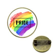 Rainbow LGBT เข็มกลัดเกย์เลสเบี้ยน Pride Pins Rainbow FLAG Bi Pride Heart แก้ว Cabochon เครื่องประดับ Dropshipping CC เข็มกลัด(China)