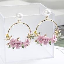 Fashion Women's Earrings 2019 Korean Earrings Flowers Vintage Stud Earrings Colorful Trendy Boho Jewelry For Party Wholesale(China)
