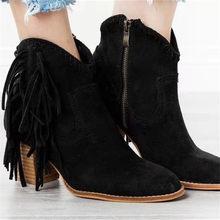 MORAZORA 2020 yeni varış kadın yarım çizmeler leopar püskül moda batı çizmeler fermuar sonbahar kış yüksek topuklu ayakkabılar kadın(China)