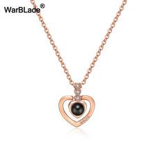 Je t'aime Projection 100 langues pendentif collier femmes or argent mauvais œil collier romantique amour mémoire collier de mariage(China)