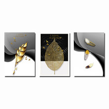 Nordic Golden Leaves Canvas Poster Feather Bird Abstract Painting Wall Art Print Decorative Pictures for Living room Home Decor(China)