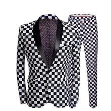 Pyjtrl Vestito Degli Uomini di Modo Nero Plaid di Stampa in Bianco 2 Pezzi Set Ultimo Cappotto Mutanda Disegni di Nozze Fase Cantante Slim Fit costume(China)