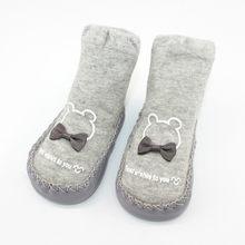 แฟชั่น Bowknot ถุงเท้ายาง Soles ทารกถุงเท้าเด็กแรกเกิดฤดูใบไม้ร่วงเด็กฤดูหนาวรองเท้า Anti SLIP Soft Sole ถุงเท...(China)