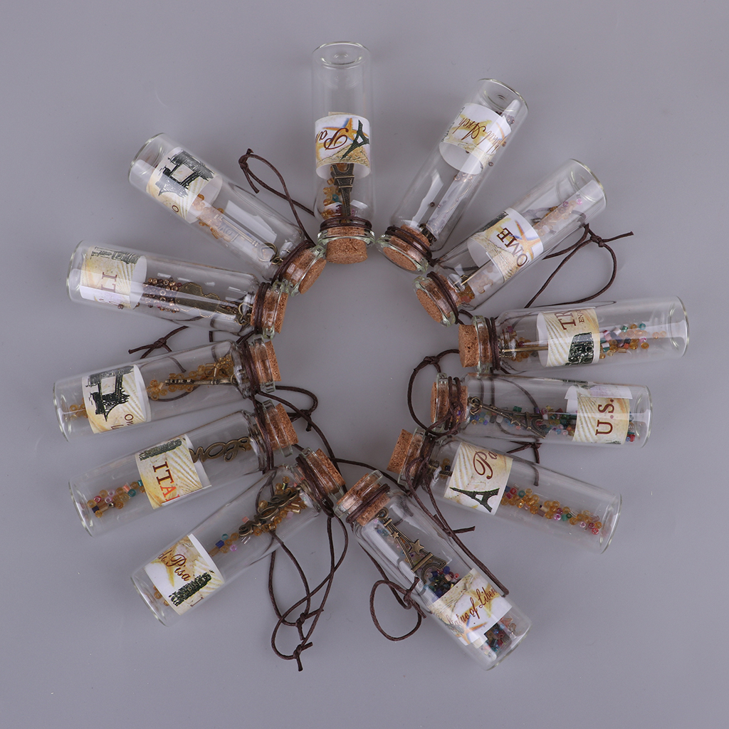12 Pieces Empty Glass Wish Bottles Decoration Containers Mini Cheap Message Vials Ornaments Cork Stopper DIY Pendant Necklace
