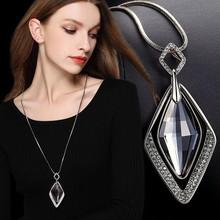 Collares y colgantes largos de cristal negro, cadena de moda de Color dorado y plateado, collar geométrico de diamantes de imitación, joyería para mujer 2020(China)
