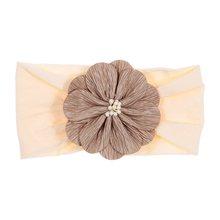 Nishine Soft Stretch Satin Rose Flower Baby Headband Newborn Knot Wide Nylon Headwraps Turban Girls Headwear Kids Photo Props(China)
