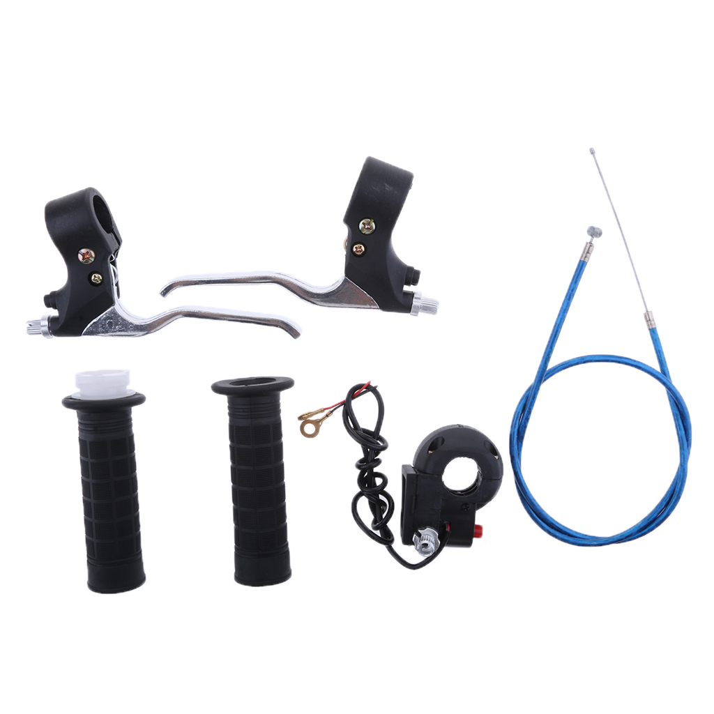 7/8 Inch Twist Handle Grips & Throttle Cable Wire Line & Black Kill Switch & Brake Levers for 47/49CC Mini Pocket Dirt Bike